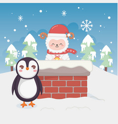 cute penguin and sheep in chimney trees winter vector image