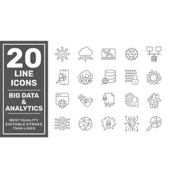 data processing line icon set contains vector image