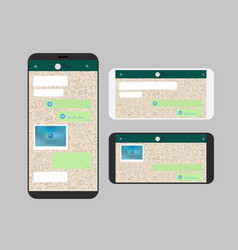 Different modern smartphone with messenger app vector
