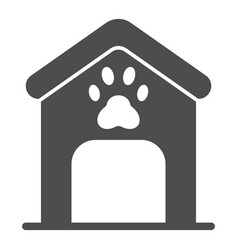 Dog house solid icon dog box with paw mark vector