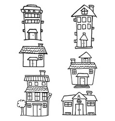 doodle of house set style vector image