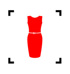 dress sign red icon inside vector image