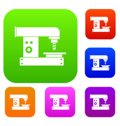 drilling machine set color collection vector image