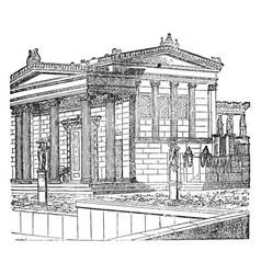 Erechtheum restored building new vector