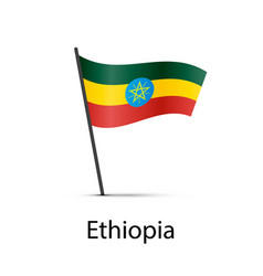 ethiopia flag on pole infographic element on vector image