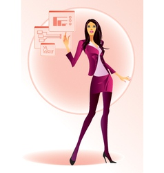 Fashion girl running on virtual display vector image