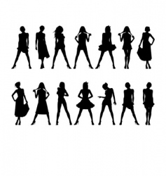 fashion girls silhouettes vector image vector image