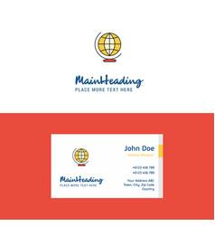flat world globe logo and visiting card template vector image