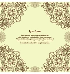 floral henna indian mehendi background vector image