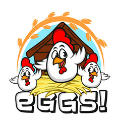 funny mascot eggs vector image