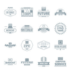 Future computer logo icons set simple style vector