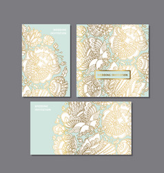 Gold and mint color folk decorative pattern vector