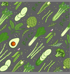 Green vegetables background template vector