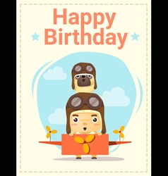 Happy birthday card with little boy and friend vector image