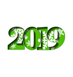Happy new year card green 3d number 2019 with vector