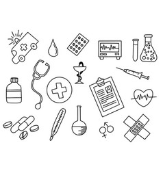 healthcare doodle black and white with outline vector image