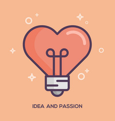 heart shaped light bulb idea and passion concept vector image