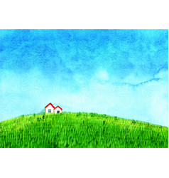 House at green grass meadow with cloud sky vector