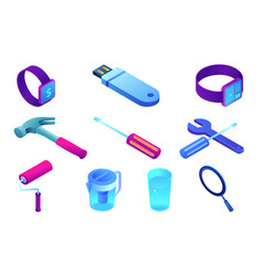 house repair tools and smart watch isometric 3d vector image