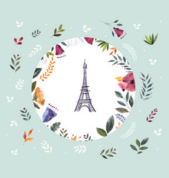 i with eiffel tower and floral wreath vector image