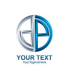 initial letter dp logo template colored silver vector image
