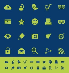 Internet useful color icons on blue navy vector