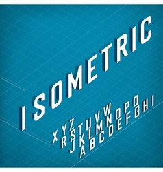 Isometric Alphabet On blueprint abstract vector image