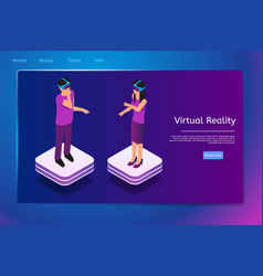 isometric people use virtual reality glasses in 3d vector image