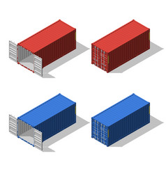 isometric set opened and closed shipping vector image