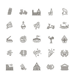 italy icons set tourism and attractions vector image