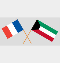 Kuwait and france kuwaiti and french flags vector