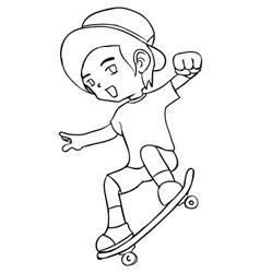 Line-art a boy playing skateboard vector