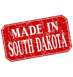 Made in South Dakota red square grunge stamp vector