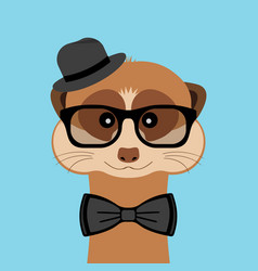 Meerkat boy portrait with glasses hat and bow tie vector