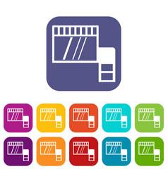 memory card icons set flat vector image
