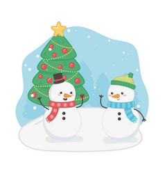 merry merry christmas card with snowmen vector image