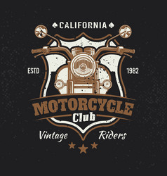 motorcycle colored vintage emblem or t-shirt print vector image