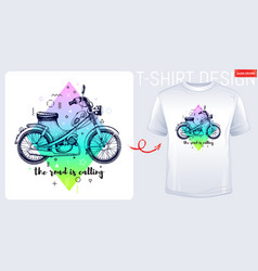 Motorcycle scooter t-shirt print trendy memphis vector