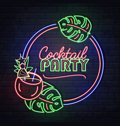 neon sign cocktail party with tropic leaves vector image