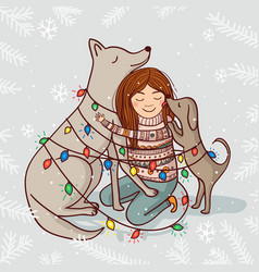 new year card with girl and dogs vector image