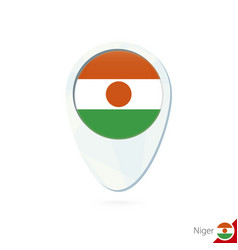 Niger flag location map pin icon on white vector