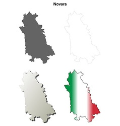 Novara blank detailed outline map set vector