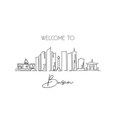 One single line drawing busan city skyline south vector