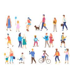Outdoor activity men and women with children vector