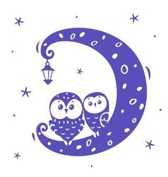 owls on moon vector image