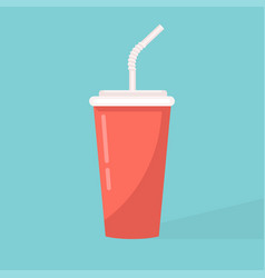 paper cup icon red cups with straws vector image