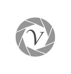 Photography service letter v vector