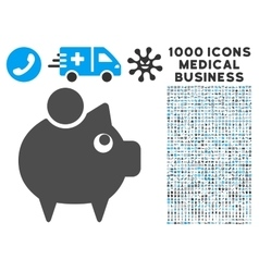Piggy Bank Icon with 1000 Medical Business Symbols vector image