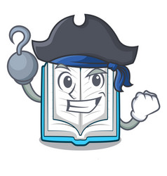 pirate opened book on the cartoon table vector image