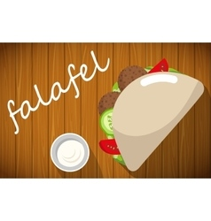 Plate of falafel with pita bread on wooden table vector